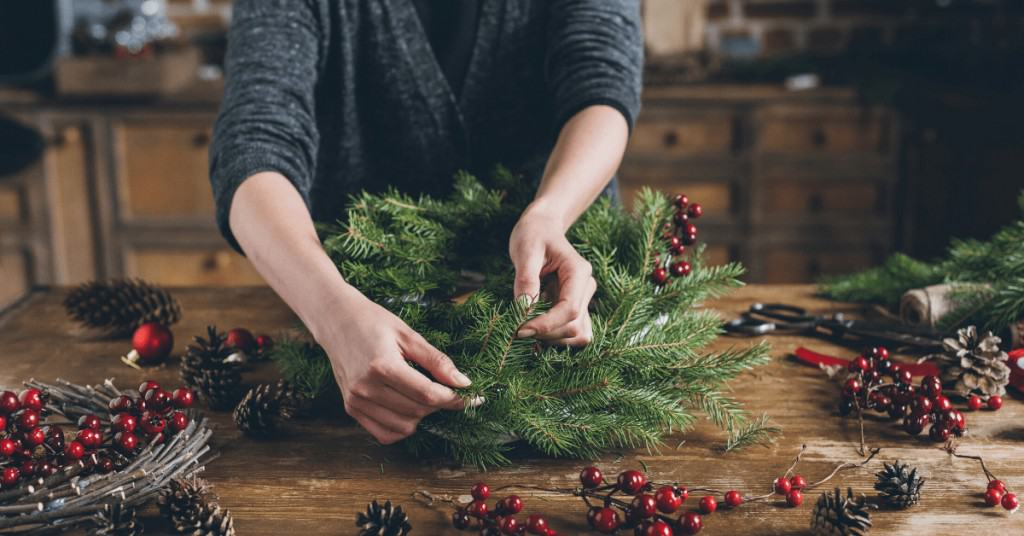 How-to-Make-a-Christmas-Wreath-Attaching-Greenery-Victorian-Christmas-Decorations