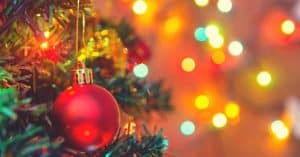 Bauble and Lights on Christmas Tree - When should you put up a Christmas tree