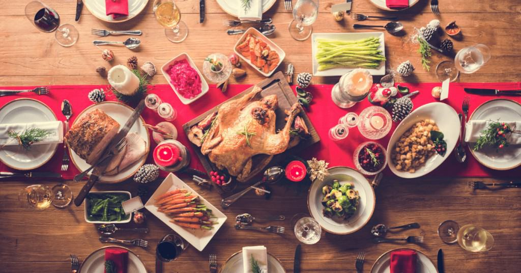 English Christmas lunch served on table