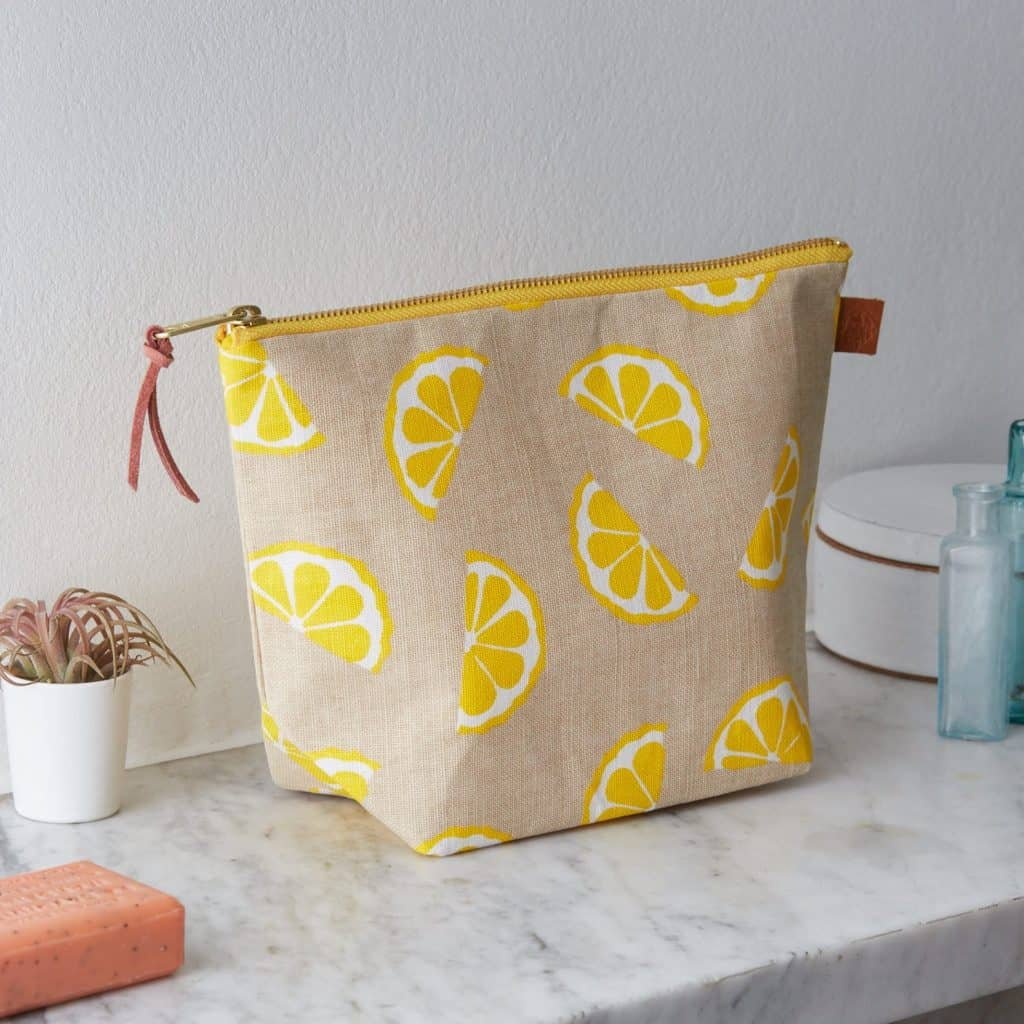 Lemon Linen Printed Wash Bag - Gift for Sister