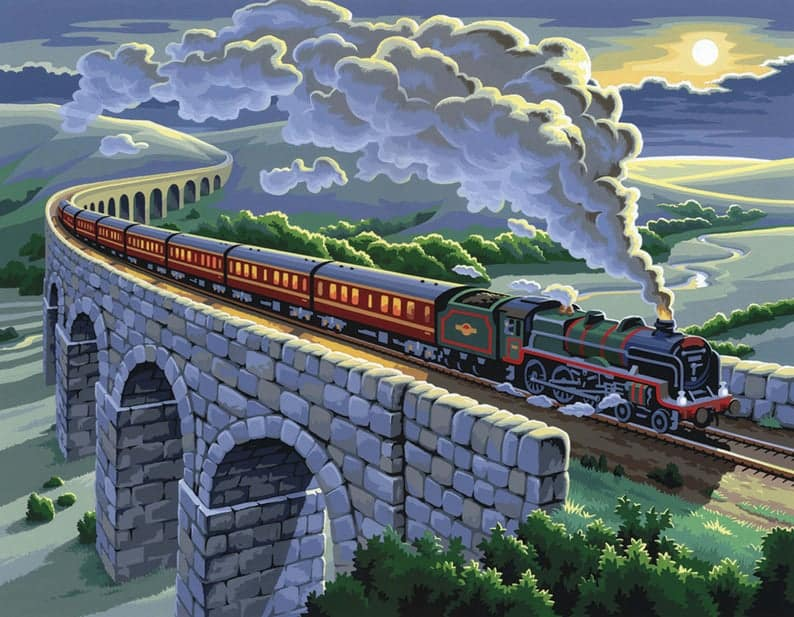 Painting By Numbers Painting Kit - Cool Gifts for Train Lovers UK