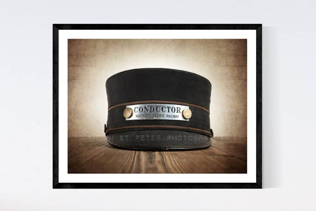 Vintage Train Conductor Hat Photo - Cool Gifts for Train Lovers UK