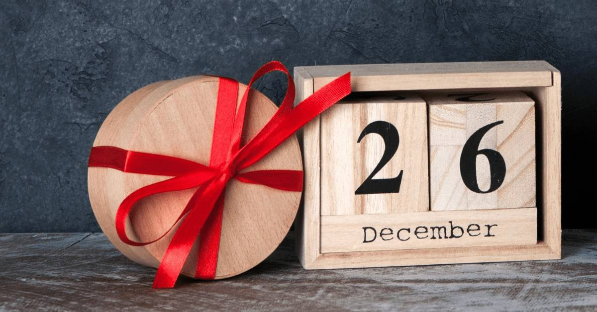 26 December in a Wooden Box with Red Bow - Open for Christmas