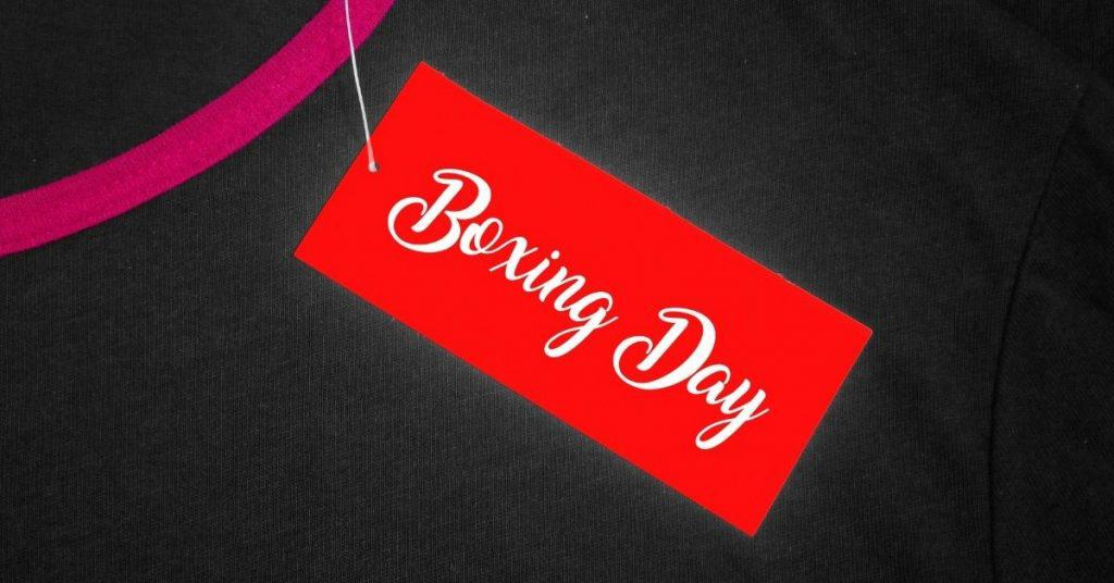 Boxing Day Sale Tag on a Top - Open for Christmas