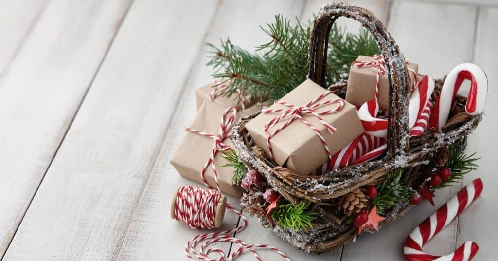 Christmas Gift Hamper Basket full of Presents, Gifts and Candy Canes
