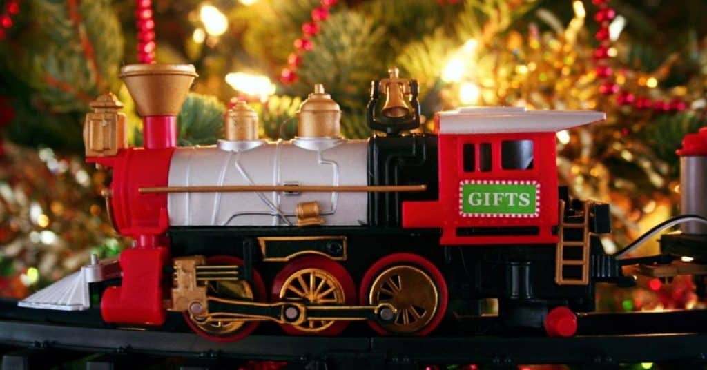 Christmas Tree Train Set Carriage with Fairy Lights Behind- Christmas Train Sets Under The Tree