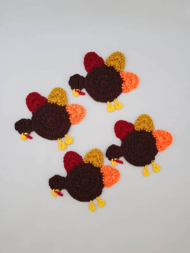Christmas crocheted turkey coasters - Open for Christmas