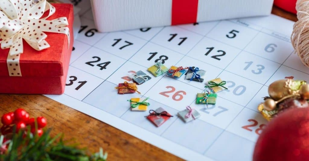 Gifts Around 26 Date on Calendar with Presents - Open for Christmas