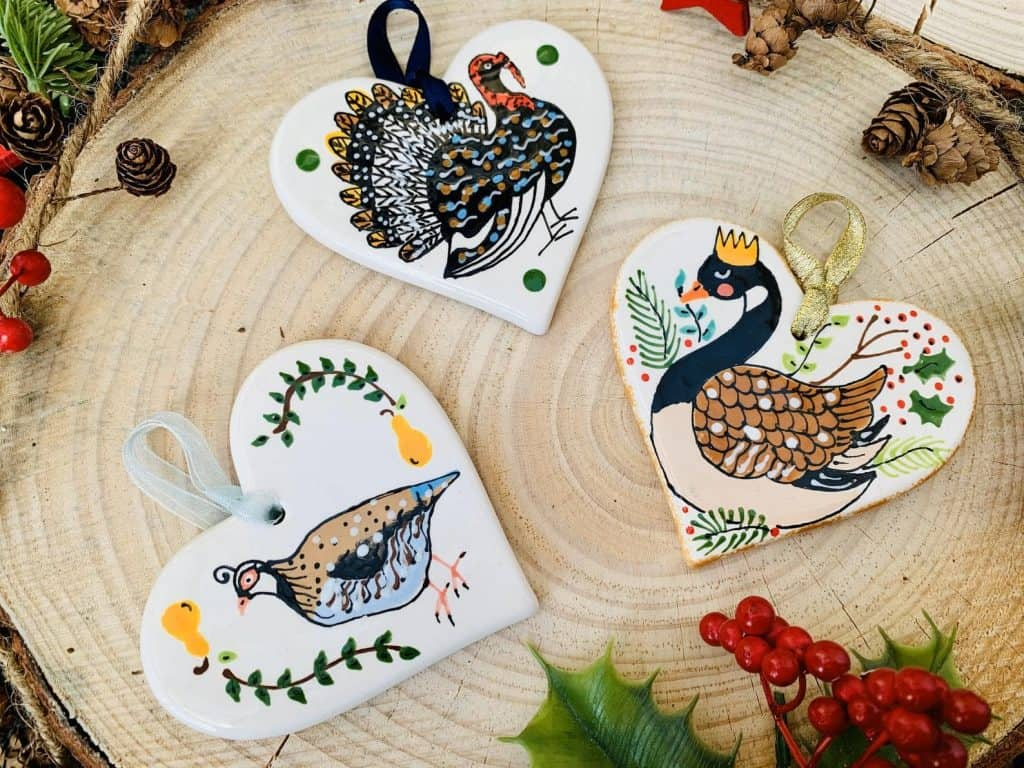 Heart shaped turkey Christmas decorations - why do we eat turkey at Christmas - Open for Christmas