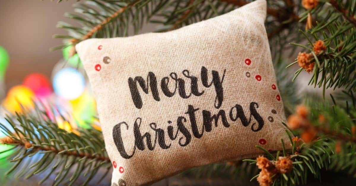 Merry Christmas Cushion in a Christmas Tree - From the UK - Open for Christmas
