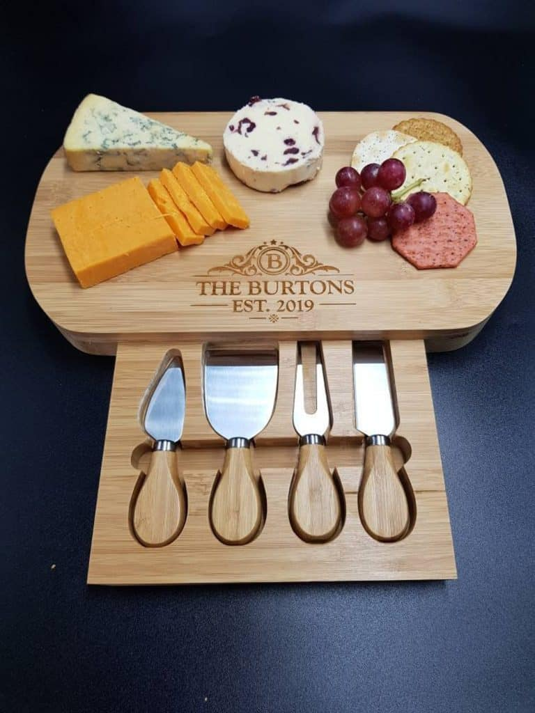 Wooden Personalised Cheese Board with cheese knives - Christmas Gift Ideas for Couples Who Have Everything