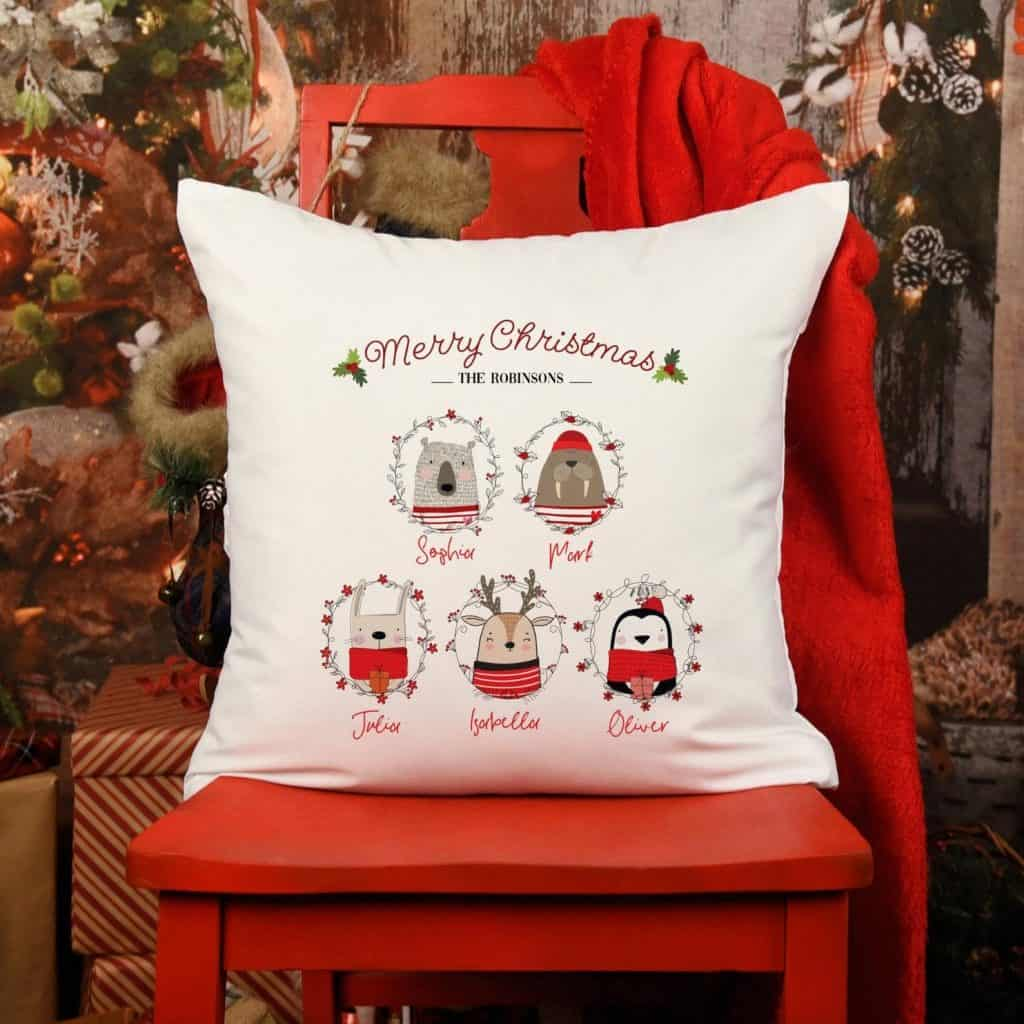 Personalised Christmas Cushion Cover UK with Family Name and Animals on a Red Festive Chair - Open for Christmas