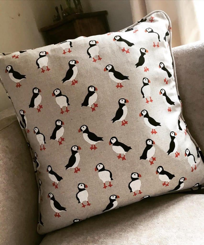 Puffin Print Cushion Cover UK - Open for Christmas
