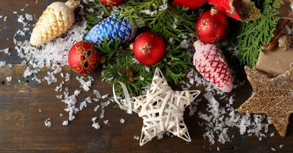Red, White, Yellow and Blue Festive Ornaments - Farmhouse Rustic Style - Open for Christmas
