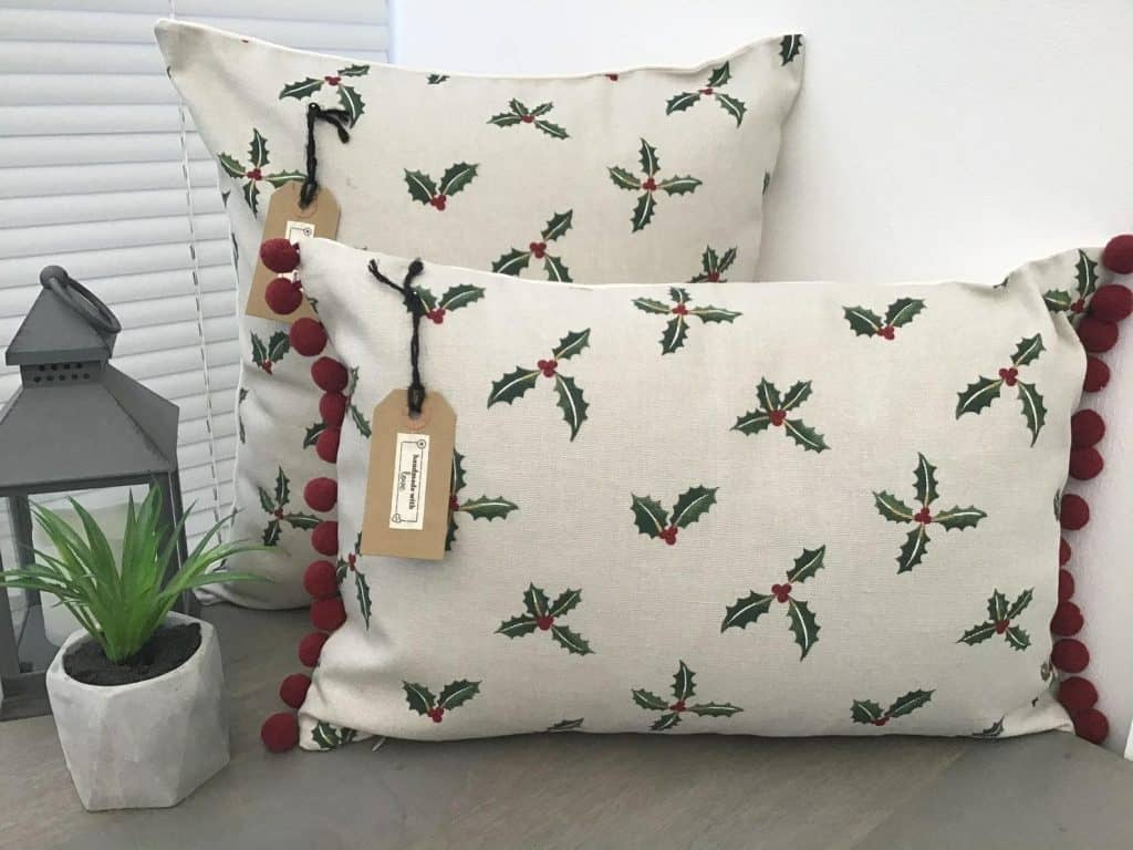 Sophie Allport Christmas Holly & Berry Handmade Christmas Cushion Covers - UK - Open for Christmas