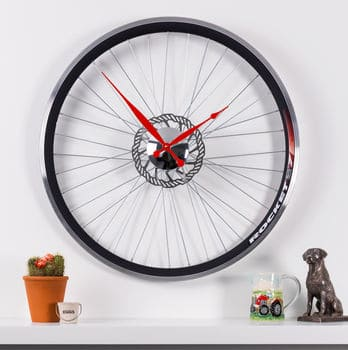 Racing Bike Wheel Clock - Cycling Gifts for Him in the UK - Open for Christmas