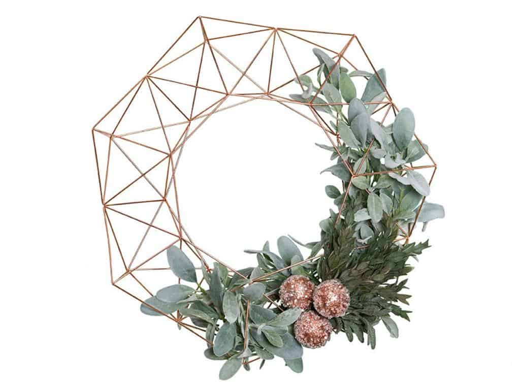 Rose Gold Holiday Modern Christmas Wreath - Open for Christmas